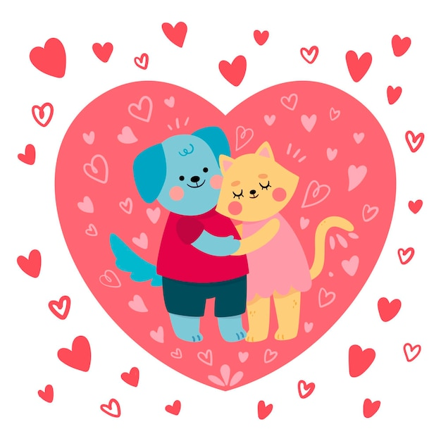 Leuk geïllustreerd kat en hondpaar Gratis Vector