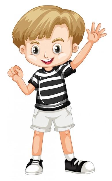 Leuk gelukkig glimlachend kind dat op wit wordt geïsoleerd Gratis Vector