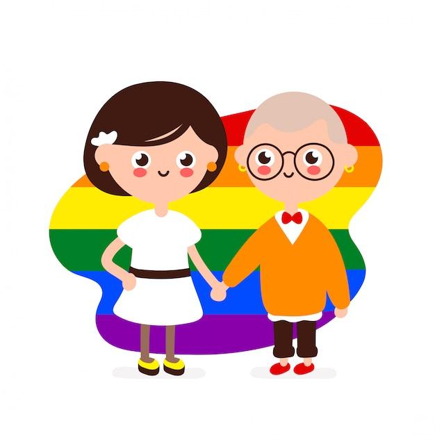 Leuk gelukkig glimlachend lesbisch paar. lesbiennes vrouw in liefde houden samen handen. moderne platte illustratie stijlicoon. geïsoleerd op wit. homoseksuele familie, homo's, lgbtq Premium Vector