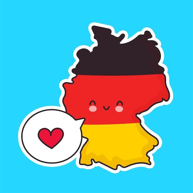 Leuk gelukkig grappig duitsland kaart en vlag karakter met hart in tekstballon. lijn cartoon kawaii karakter illustratie pictogram. duitsland concept Premium Vector