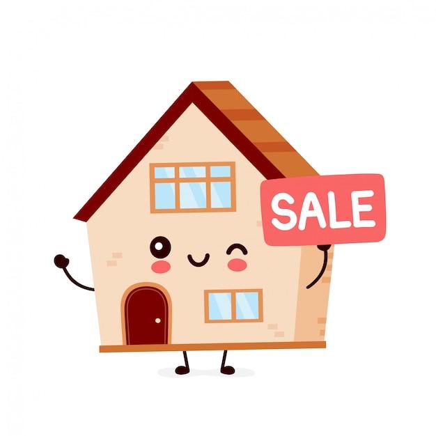 Leuk gelukkig lachend huis. platte cartoon karakter illustratie pictogram ontwerp. huis bouwen, huis concept Premium Vector