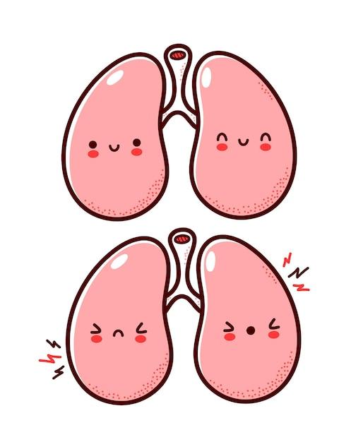 Leuk gezond en ziek triest grappig menselijk longen orgel karakter Premium Vector