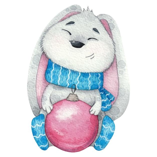 Leuk grijs konijntje in sjaal en met kerstboomstuk speelgoed. aquarel illustratie Premium Vector