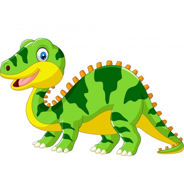 Leuk groen dinosaurusbeeldverhaal op wit Premium Vector