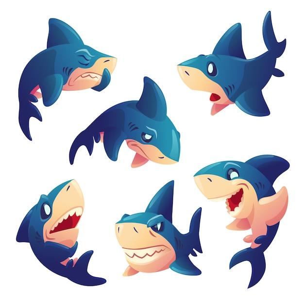 Leuk haaikarakter met verschillende emoties die op witte achtergrond worden geïsoleerd. vector set cartoon mascotte, vis met tanden glimlachen, boos, hongerig, verdrietig en verrast. creatieve emoji-set, dieren-chatbot Gratis Vector