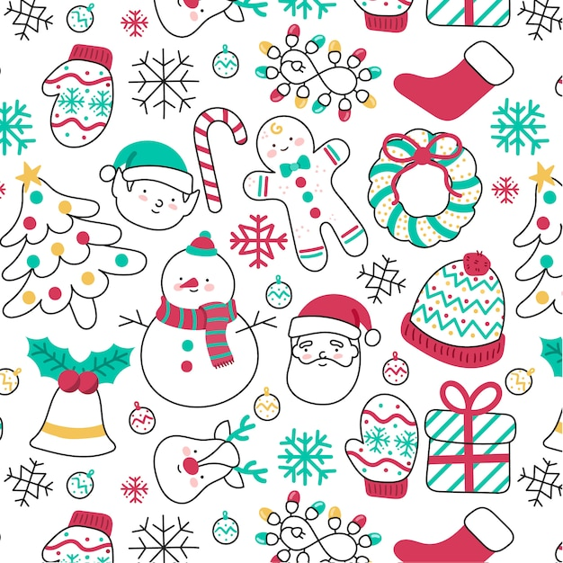 Leuk hand-drawn kerstmispatroon met verschillende elementen Gratis Vector