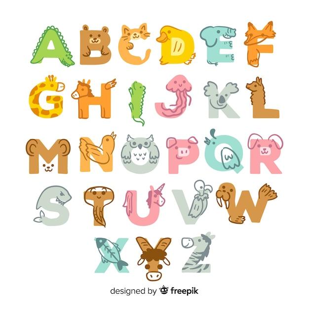 Leuk hand getrokken ontwerp dierlijk alfabet Gratis Vector