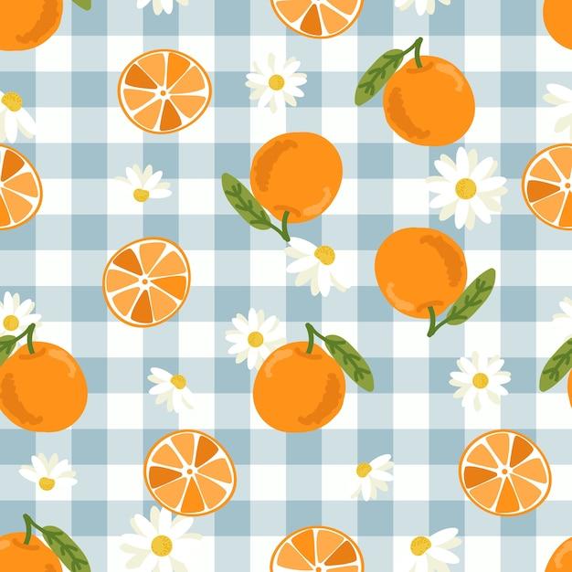Leuk hand getrokken oranje fruit en plak naadloos patroon Premium Vector