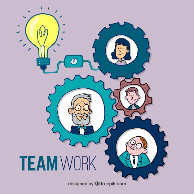 Leuk handgetekend teamwork concept Gratis Vector