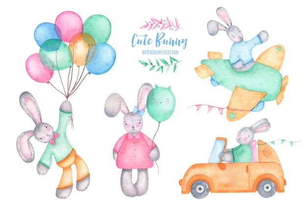 Leuk het konijntjeskonijn van waterverf gelukkig pasen met luchtballons op auto en vliegtuig Gratis Vector