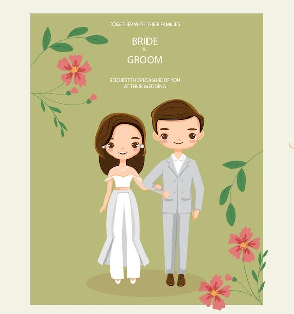 Leuk hipsterpaar voor de kaart van huwelijksuitnodigingen Premium Vector