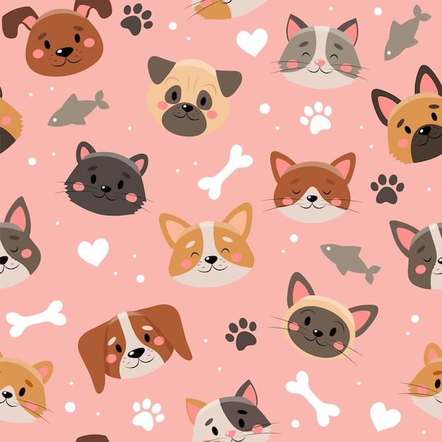 Leuk huisdierenpatroon, verschillende katten en honden Premium Vector