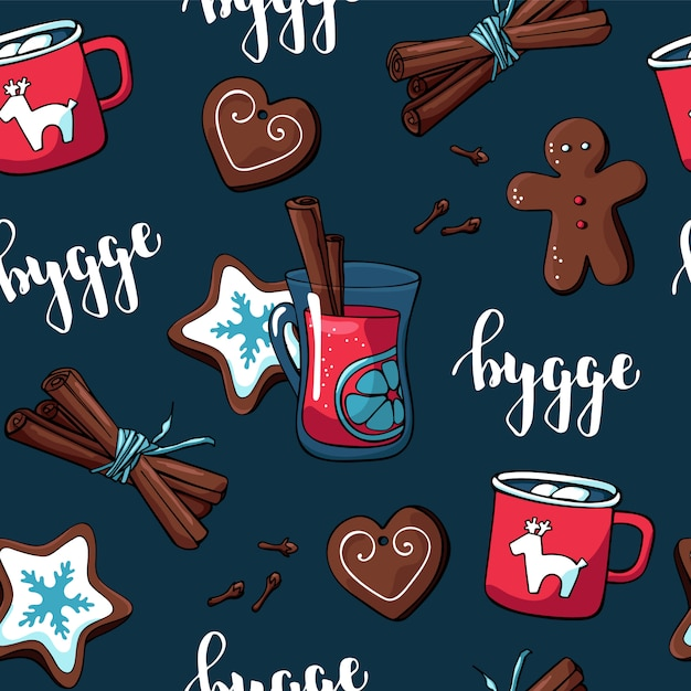 Leuk hygge-patroon voor stof en papier met kerstelementen en gezellige dingen Premium Vector