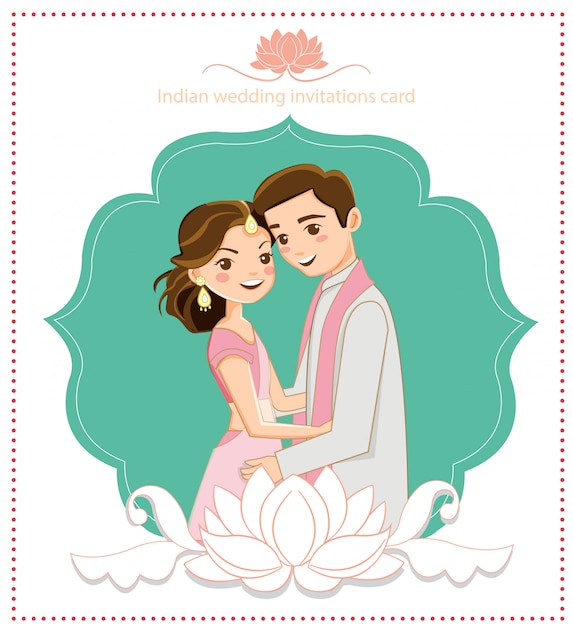 Leuk indisch paar voor huwelijkskaart Premium Vector