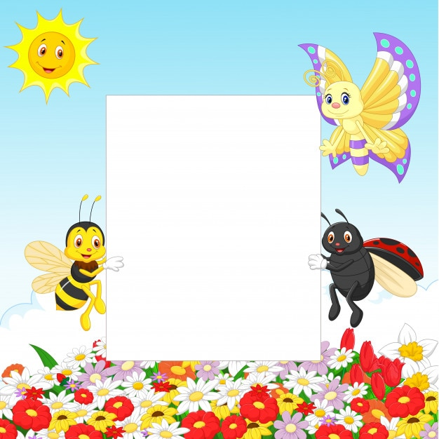 Leuk insect met leeg teken Premium Vector