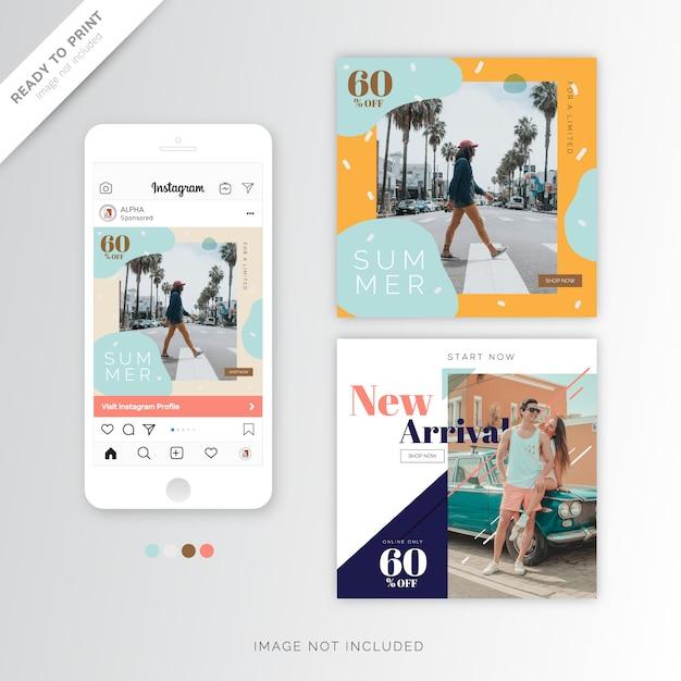 Leuk instagram sjabloon zomerontwerp banner Premium Vector