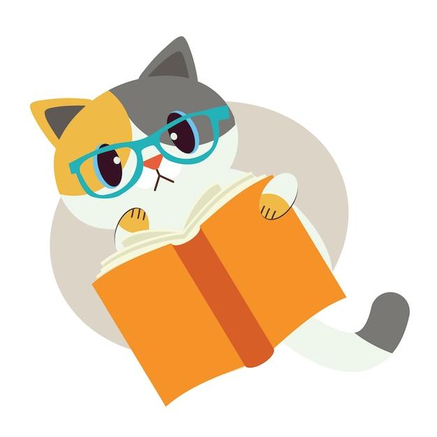 Leuk karakter van kat met een boek Premium Vector