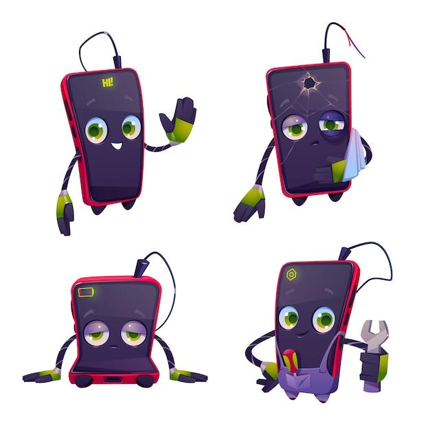 Leuk karakter voor smartphone reparatieservice Gratis Vector