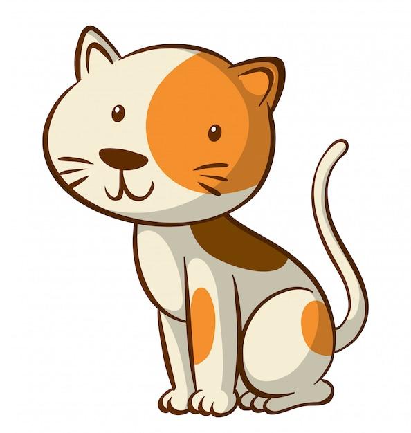 Leuk katje op witte achtergrond Gratis Vector