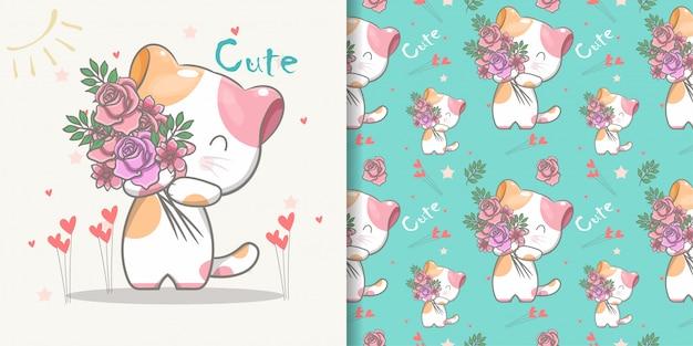 Leuk katten naadloos patroon en illustratiekaart Premium Vector