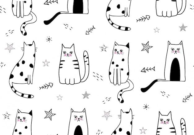 Leuk katten naadloos patroon Premium Vector