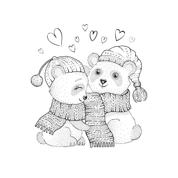 Leuk kerst panda paar, schets doodle dieren. Premium Vector