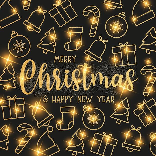 Leuk kerstbehang met platte kerstpictogrammen met gouden textuur Gratis Vector