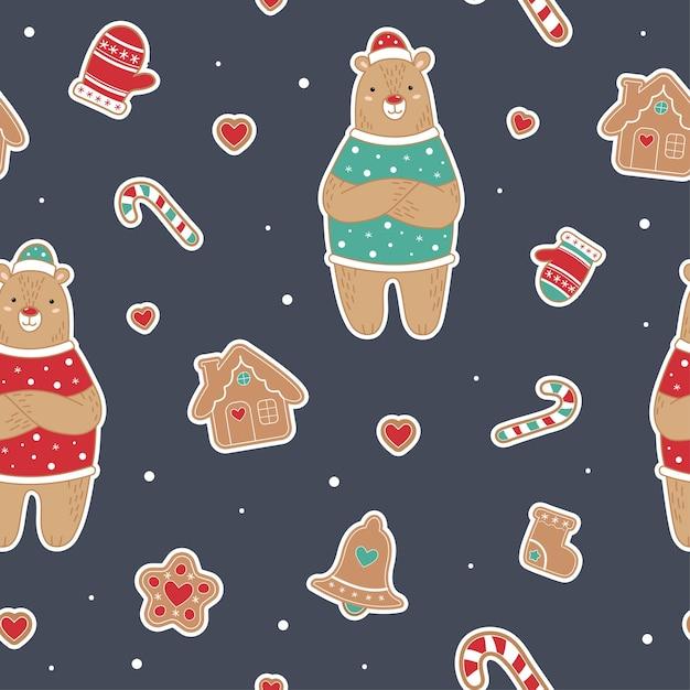 Leuk kerstmis naadloos patroon met beer. gemberman, huis, lolly Premium Vector