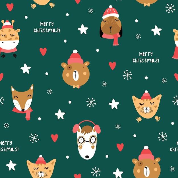 Leuk kerstpatroon met dieren. vos, wolf, beer, giraf, hond, kat. kerst motieven. Premium Vector