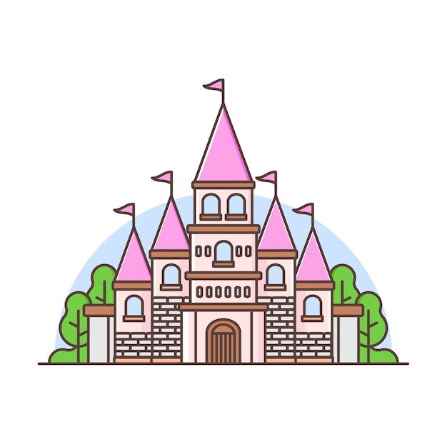 Leuk kleurrijk kasteellandschap met bomen Premium Vector