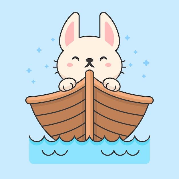 Leuk konijn in een drijvende boot Premium Vector
