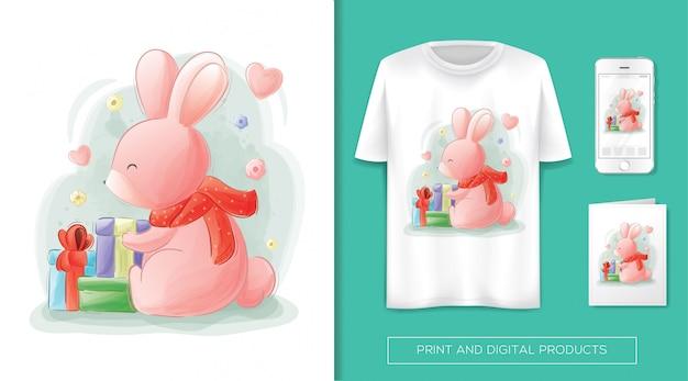 Leuk konijn krijgt een geschenk Premium Vector