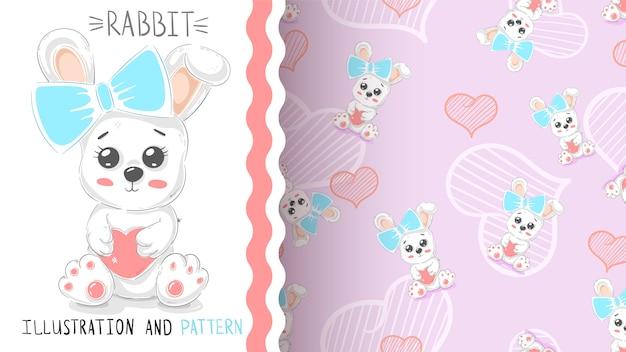 Leuk konijn met hart - naadloos patroon Premium Vector