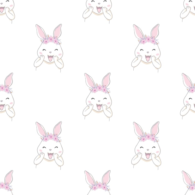 Leuk konijnkonijntje met naadloos het patroon van de boogschets Premium Vector