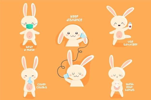 Leuk konijntje in tijden van coronavirus Gratis Vector