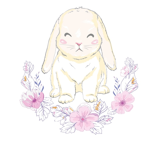 Leuk konijntjesmeisje met kroon, droom grote prinses Premium Vector