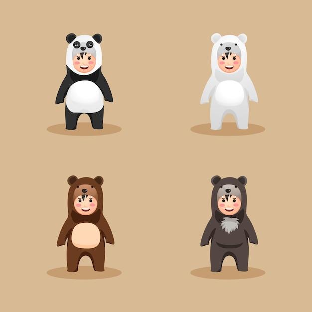 Leuk kostuum berenfamilie Premium Vector