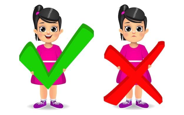 Leuk meisje dat de juiste en verkeerde tekenvector houdt Premium Vector