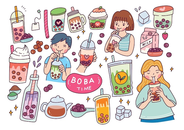 Leuk meisje drink boba Premium Vector