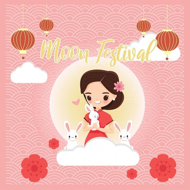Leuk meisje in chinese traditionele kleding met konijn voor maanfestival Premium Vector