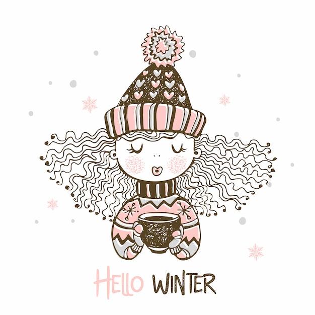 Leuk meisje in een gebreide muts en wanten die hete koffie drinken. hallo winter. Premium Vector