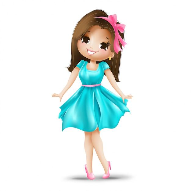 Leuk meisje in een roze boog en blauwe jurk Gratis Vector