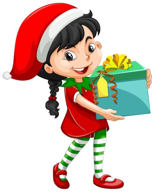 Leuk meisje in kerst kostuum bedrijf geschenkdoos stripfiguur Gratis Vector