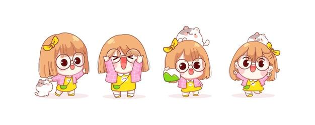 Leuk meisje in verschillende gebaren cartoon afbeelding Gratis Vector