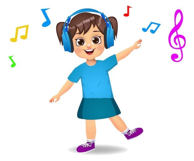 Leuk meisje jongen luisteren naar muziek Premium Vector