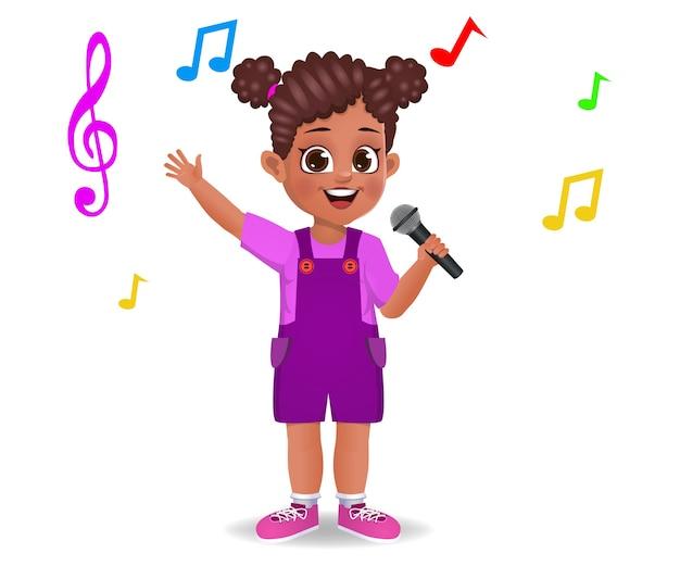 Leuk meisje jongen zingen lied geïsoleerd op wit Premium Vector