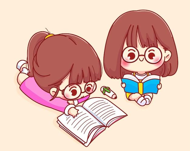 Leuk meisje lezen boek cartoon karakter illustratie Gratis Vector