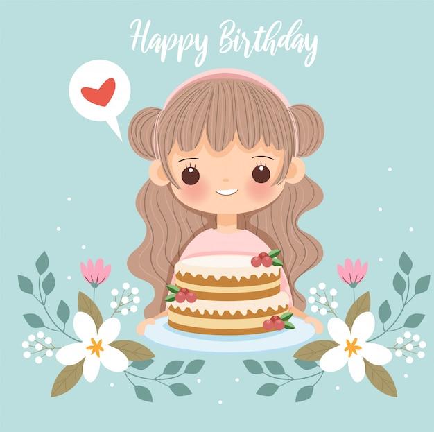 Leuk meisje met cake en bloem voor gelukkige verjaardagskaart Premium Vector
