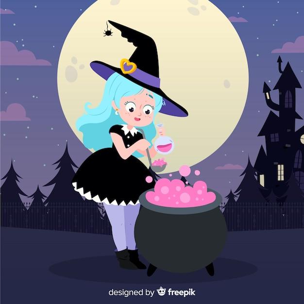 Leuk meisje met halloween-heksenkostuum Gratis Vector