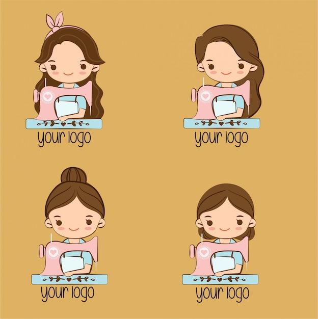 Leuk meisje met naaimachine cartoon voor merklogo ontwerp Premium Vector
